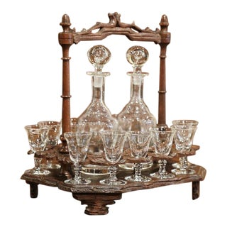 19th Century French Black Forest Carved Walnut Cave a Liqueur - Complete 15 Pc. Set For Sale