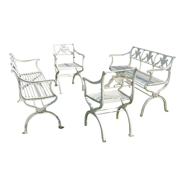 1900s Karl Friedrich Schinkel Style Neoclassical Cast Iron Patio Suite - 4 Pc. Set For Sale