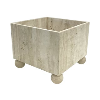 Large Vintage Italian Travertine Planter For Sale