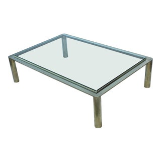 1970s Solid Brass Large Coffee Table For Sale
