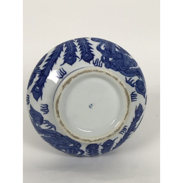1950s Vintage 1950s Chinoiserie Blue and White Vase For Sale - Image 5 of 6