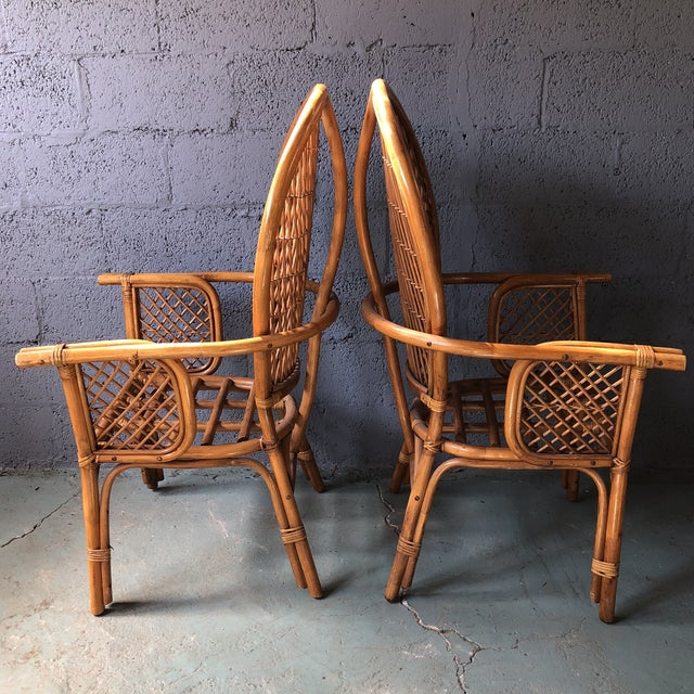 Asian 1980s Boho Chic Rattan Fan Peacock Chairs - a Pair For Sale - Image 3 of 13