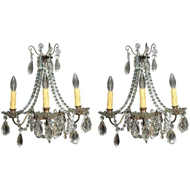 Crystal Pair of Antique French Crystal Three-Light Wall Sconces For Sale - Image 7 of 7