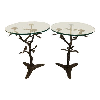 Willy Daro Bronze Tree & Bird Tables - a Pair For Sale