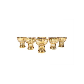 Mid Century Gold Striped Coupe Glasses - Set of 6 For Sale