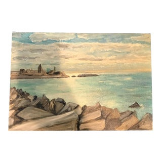 Impressionistic French Vintage Seascape Painting