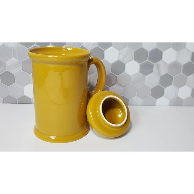 1970s Vintage Peasant Village Canister With Lid and Handle Ceramic Canister Jars - a Pair For Sale - Image 9 of 12