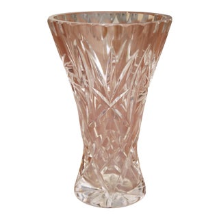 Cut Crystal Tapered Vase For Sale