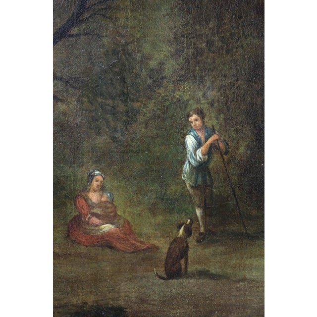 Georgian Giltwood Overmantle Mirror with Oil on Canvas Pastoral Scene Painting For Sale In Boston - Image 6 of 11