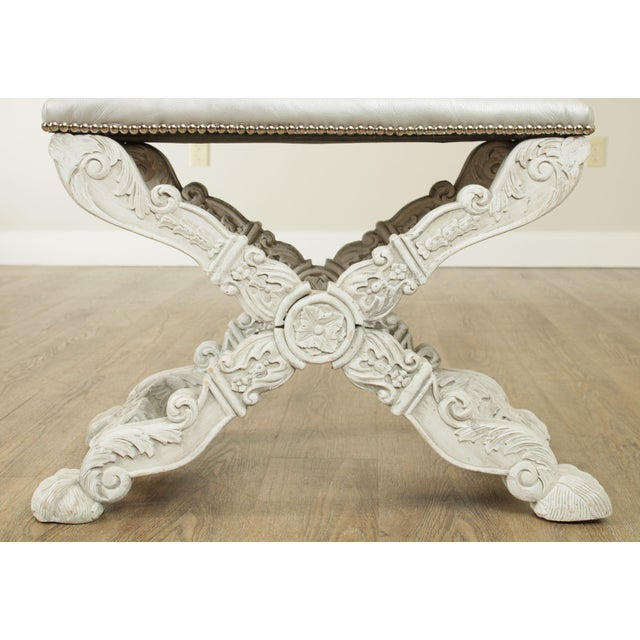 Leather Italian Baroque Style Carved White Painted X Stools, Benches - a Pair For Sale - Image 7 of 13
