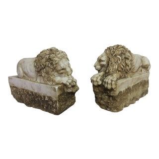 Pair of Carved Stone Replica Lions Originally by Antonio Canova For Sale