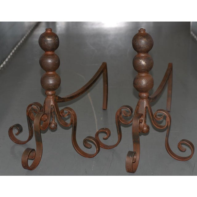 Pair of Jan Barboglio Wrought Iron Andirons For Sale In San Francisco - Image 6 of 6