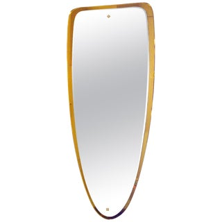 1950s Double Beveled Mirror, Golden Orange Mirror Frame, Bronze - Italy For Sale