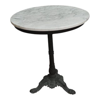 French Round Black Wrought Iron With a White Marble Top Bistro Table