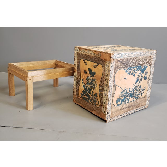 Antique Japanese Tea Crate on Stand Side Table For Sale - Image 11 of 13
