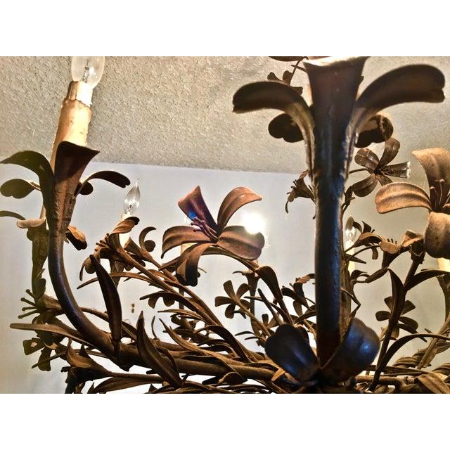 Brutalist 1960s Hollywood Regency Floral Metal Brutalist Chandelier For Sale - Image 3 of 10
