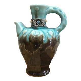 Turquoise & Brown Pottery Jug For Sale
