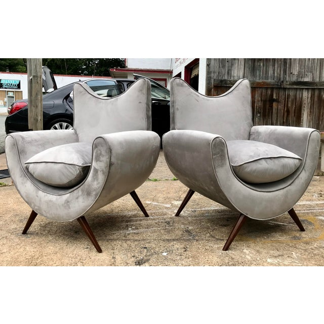 Chic Lounge Chairs in the Manner of Jean Royere - a Pair For Sale - Image 13 of 13