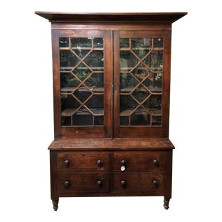 19th Century Early American Virginia Breakfront China Cabinet For Sale