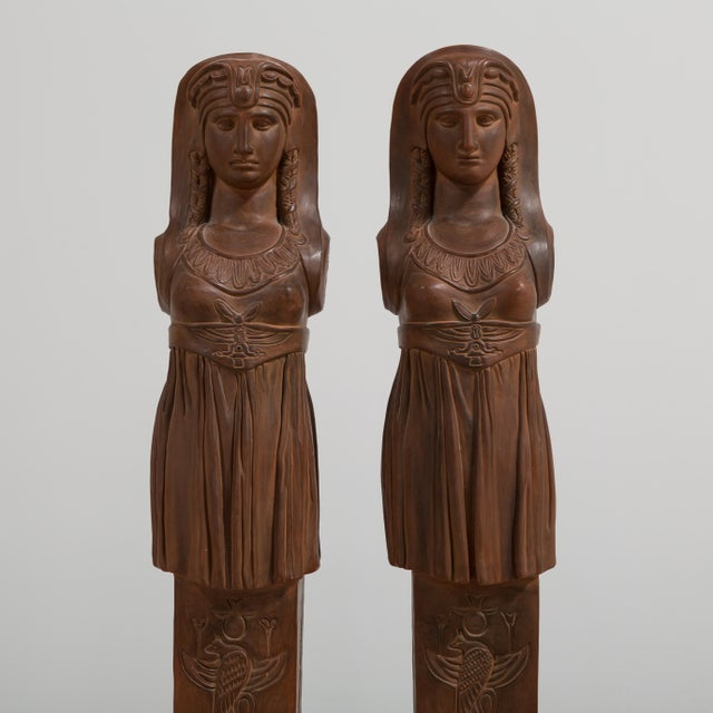 A Pair of Terracotta Term Figures circa 1980 For Sale - Image 4 of 8