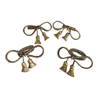 Vintage Brass Twisted Rope Bow Napkin Rings With Tassels - Set of 4 For Sale