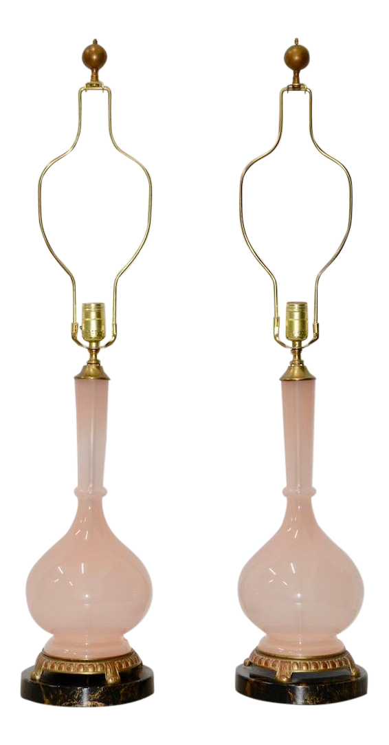 Incredible Pair Of Mid Century Modern Murano Pink Glass Table Lamps