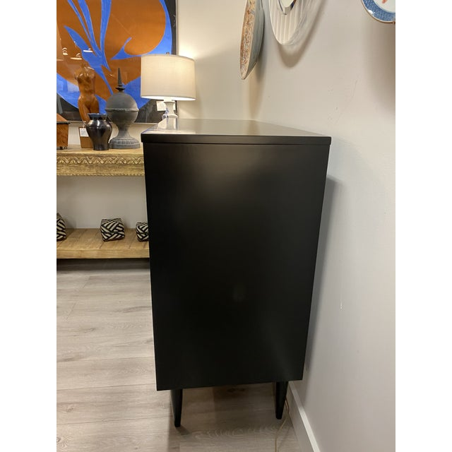 Beautiful Mid Century Dresser made by Dixie, newly black (flat) lacquered