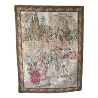 Vintage French Societé Tapestry With Hanging Rod For Sale