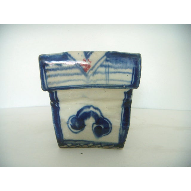 Vintage Chinese Porcelain Head Rest/Opium Pillow, Blue and White For Sale - Image 4 of 7