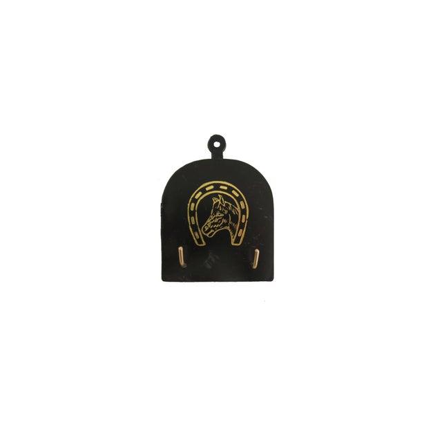 Vintage Black Plastic Brass Horse Shoe Horn and Brush Set - Image 4 of 4