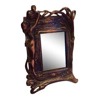 Copper Art Nouveau Vanity Mirror