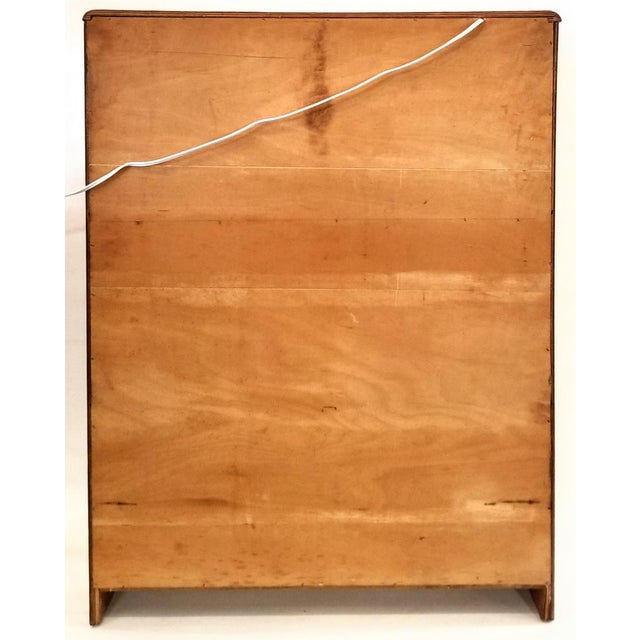 Art Deco Light Up Cocktail Cabinet in English Walnut With Patterned Glass Interior For Sale - Image 9 of 10