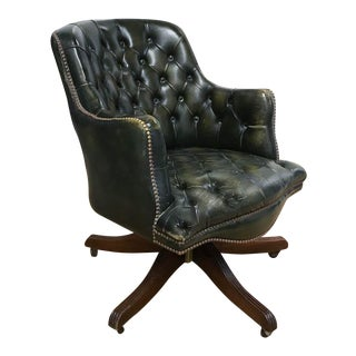 Old Green Leather Swivel Desk Chair with Nail Heads