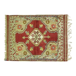 Vintage Turkish Oushak Rug - 3'4'' x 4'4'' For Sale