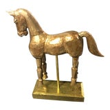 Image of Vintage Reticulated Golden Wooden Horse For Sale