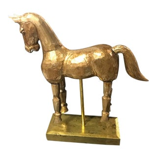 Vintage Reticulated Golden Wooden Horse For Sale