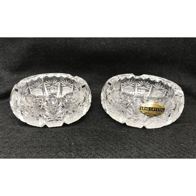 Transparent Vintage Crystal Ash Trays-a Pair For Sale - Image 8 of 8