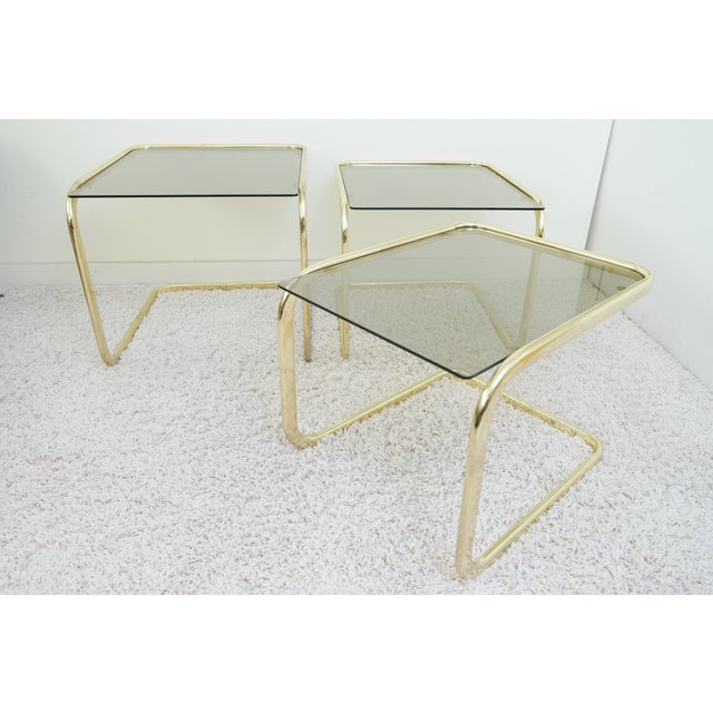 1970s Mid Century Modern Gold Steel Nesting Tables - Set of 3 For Sale - Image 6 of 9