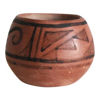 San Ildefonso Black on Red Native American Pottery Vase For Sale