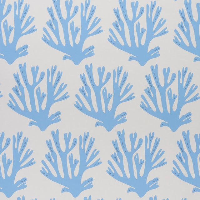 Schumacher Sample - Schumacher x Molly Mahon Coral Wallpaper in Blue For Sale - Image 4 of 4