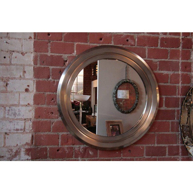 Sergio Mazza Italian 70's Stainless Sergio Mazza Mirror For Sale - Image 4 of 5