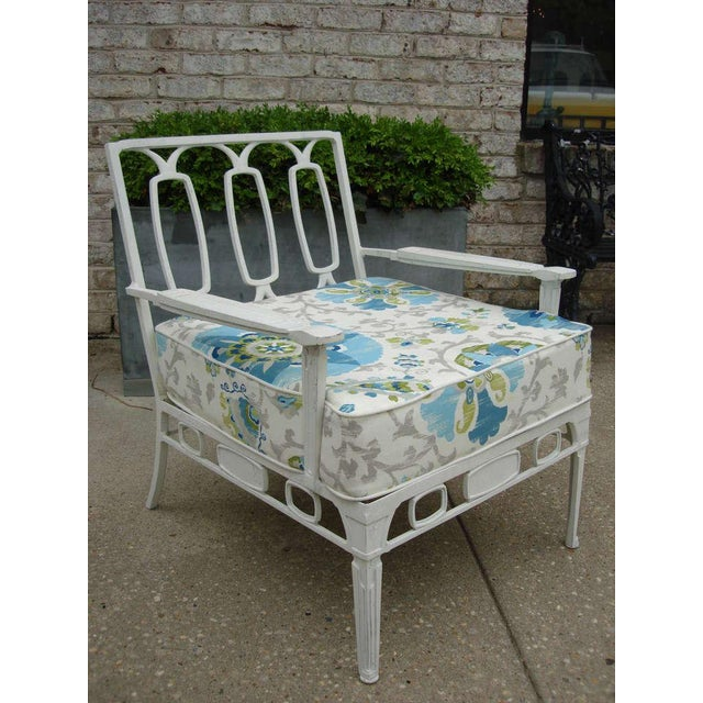 Aluminum painted chair is part of a set (sold separately) with settees and matching reversible Sunbrella cushions. Back...