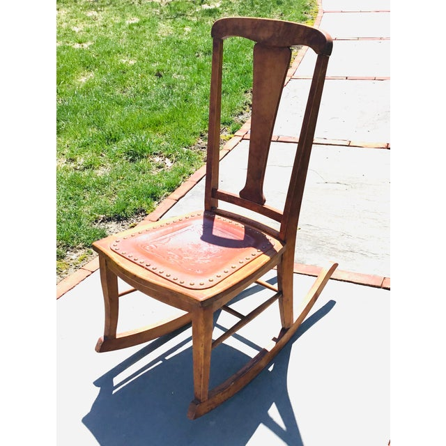 Rocking Chair With Leather and Nailhead Trim Seat For Sale - Image 9 of 9