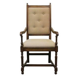 Late 20th Century Vintage Pennsylvania House English Oak Jacobean Style High Back Arm Chair For Sale