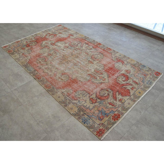 "Cotton Rug 4x8 Turkish Rug With Great Pops of Red, Vintage Hand Knotted Distressed Low Pile Runner,Romantic Shabby Chic Entry Oushak Rug 4'3""x7'5"" For Sale - Image 7 of 7"