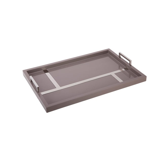 Flair Home Collection Righe Tray in Taupe / Nickel For Sale - Image 4 of 4