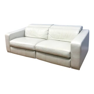 Modern Roche Bobois Modern Grey Leather Incliner Couch For Sale