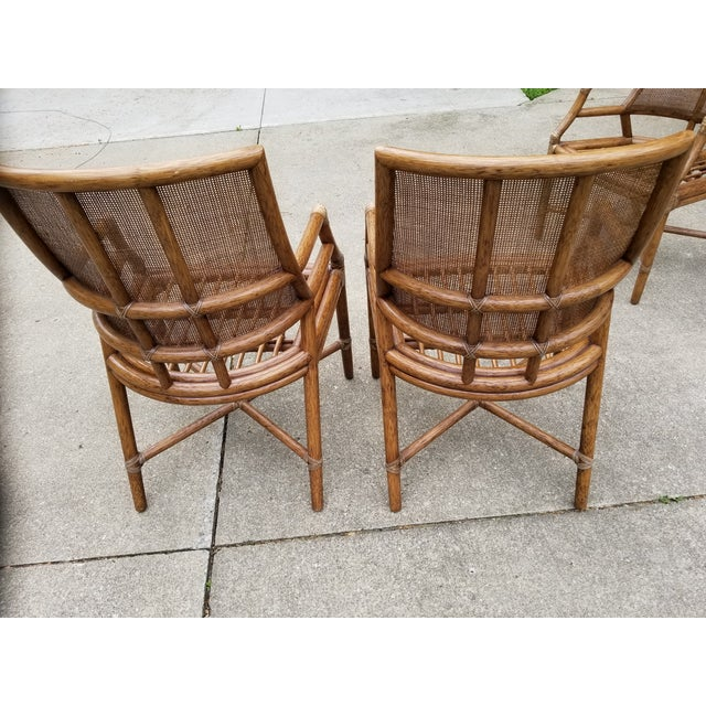 McGuire Rattan Cane Lounge Arm Chairs - a Pair - Image 4 of 8