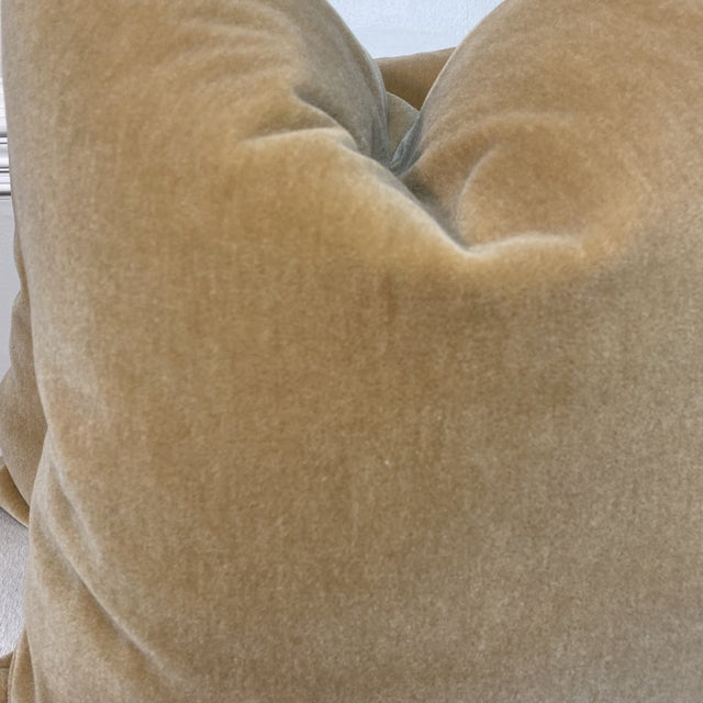"""Custom pair of 22"""" pillows covered in a luxe mohair velvet in a warm wheat color. These pillows have tapered corners to..."""