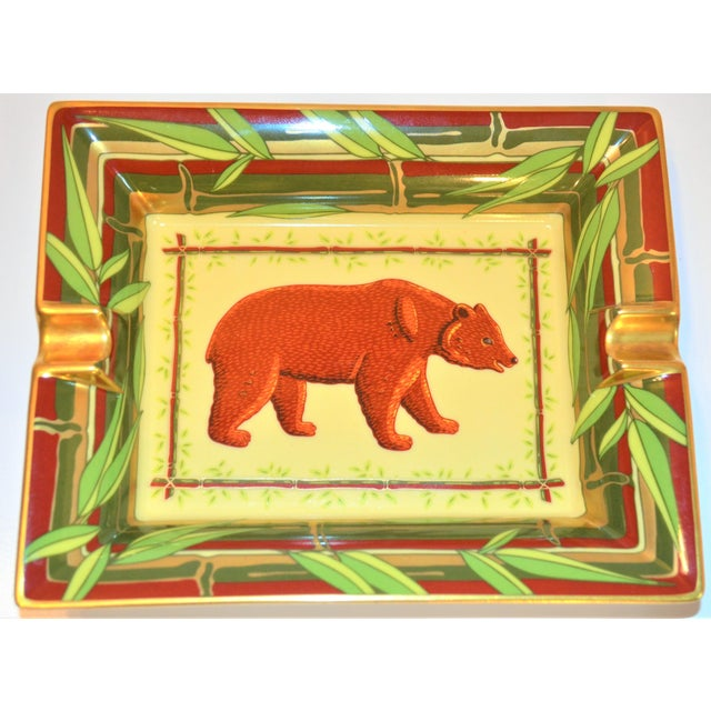 Ceramic Vintage Hermès Bear and Bamboo Cigar Tray For Sale - Image 7 of 13